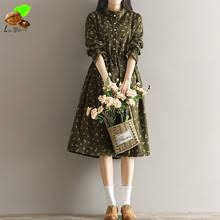 Women Autumn Fashion Casual 100 Cotton Clothing Mori Vintage Loose Style Corduroy Print Floral Cute