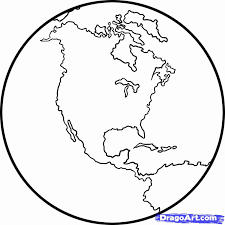 Black White Globe Colouring Pages