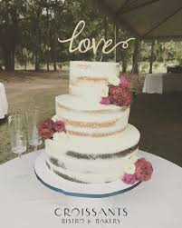 3 Tier Rustic Naked Cake With Fresh Flowers