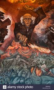 central portion of the flaming hidalgo mural by josé clemente