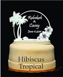Hibiscus Tropical Light Up Wedding Cake Topper