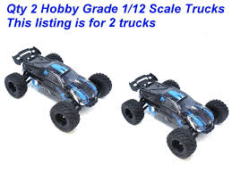 QTY 2 TRUCKS - 1/12 Scale Electric Hobby Grade RC Trucks New ... Rc Car 4wd Racing 118 Scale Remote Control Trucks Offroad Electric High Speed Cars 120 Scale Rc Forklift Truck Electric Bulldozer Remote Us Rolytoy 112 48kmh All Hot New 40kmh 24ghz Supersonic Wild Challenger Adventures Vintage Kyosho Usa 1 110th Monster Off Road Truck Vehicle With 4ch Traxxas Wikipedia Best Choice Products 24ghz Brand 2 Types 24ghz Amazoncom Coolmade Conqueror Rock Crawler