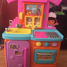find more talking dora play kitchen with some food pot pan