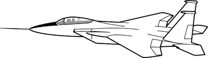 Jet Fighter clipart black and white 1