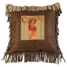 Cowgirl Butte Leather Fringe Pillow By Wooded River