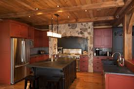 Classic Rustic Kitchen With Dark Red Brick Tile