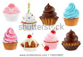 Cupcake Fairy Cake 3d Realistic Vector Icon Set