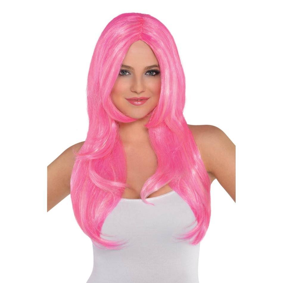 Amscan Adult Women's Cotton Candy Pink Wig