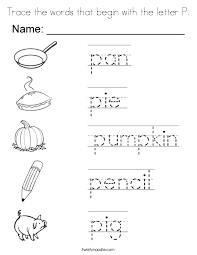 Trace the words that begin with the letter P Coloring Page