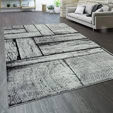 paco home teppich wohnzimmer kurzflor holz optik modern vintage grau schwarz grösse 200x280 cm