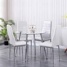 goldfan esszimmergruppe mit glass esstisch und 4 essstühlen glastisch und weiß stuhl runder tisch für wohnzimmer küche