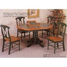 7pc Oak Green Oval Dining Table W Tile Top Napoleon Chair Set