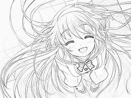 Cute Anime Girl Coloring Page Pages