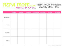 Free Printable Monthly Menu Plan 2 Week Meal Planner Template Diet