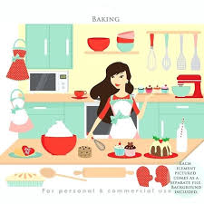 Kitchen Clipart Baking Cooking Clip Art Girl Aprons Food Sweets Mixer Cook Digital For Bakery