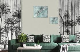 casa padrino luxus vorhang set palmen grau schwarz 250 x h 290 cm bedruckte leinen samt vorhänge ösenvorhänge schiebevorhänge luxus deko