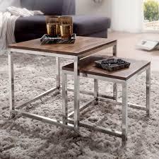 2er set satztisch guna massiv holz sheesham wohnzimmer tisch metallgestell landhausstil beistelltisch braun natur