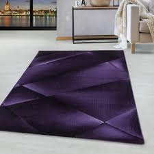 weicher kurzflor teppich wohnzimmerteppich abstraktes design soft flor lila