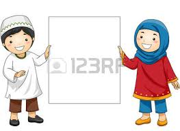 Illustration Of Muslim Kids In Traditional Clothing Holding A Blank Board