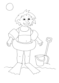 Free Coloring Page Sheets For Kids Girl Beach Summer