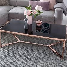 design couchtisch schwarz kupfer 120x60 cm wohnzimmertisch mit glasplatte modern sofatisch glastisch bronze wohnling