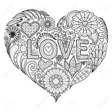 Fleurs Et Textes Damour Dans La Conception En Forme De Coeur Pour