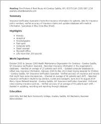 Resume Templates Insurance Verification Specialist
