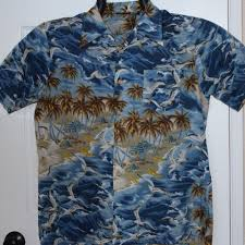Jcpenney Christmas Tree Sweater by Vtg Jcpenney Towncraft Mens Hawaiian Shirt Blue Ocean Beach Scene