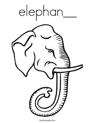 Elephant Head With Tusks Coloring Page