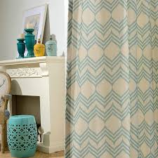 modern vorhang blau wellen design im schlafzimmer