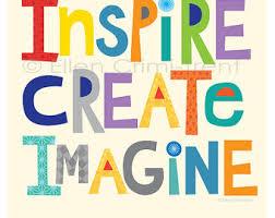 Inspire Create Imagine Kids Wall Art Decor Typography Inspirational