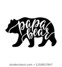Papa Bear Inspirational Quote With Silhouette Hand Writing Calligraphy Phrase Vector Illustration