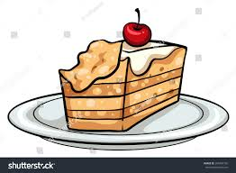 Plate with a slice of cake on a white background