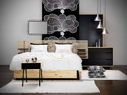 Bedroom Design For Guys Brown Lacquered Oak Wood Platform Bed Black Mahogany Frame White Painted Wooden Nightstand Espresso Nig Simple Study