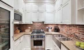 gray brick backsplash faux grey veneer cabinets kitchen white and
