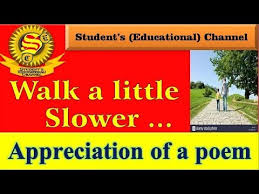 9th English Appreciation Of A Poem Walk Little Slower