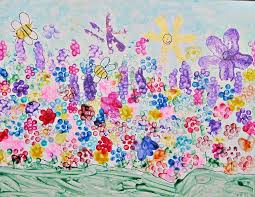 Painting A Flower Garden Using Bundles Of Pencils And Q Tips