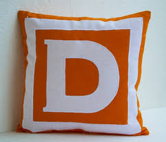 Decorative Pillows Personalized Monogrammed In Bold Orange And