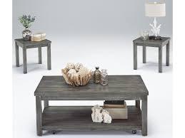 Progressive Furniture Silverton II Castered Cocktail Table 2 End Set In Gray Finish