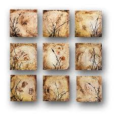 Textured Painting On Canvas Fine Art Set Of Small Paintings Silhouette Elegant Decor Rustic Original Day