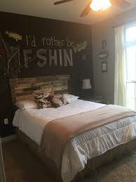 Soccer Themed Bedroom Photography by Made This Pallet Headboard For Boys Room Fishing Theme So