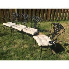 Vintage Woodard Patio Chairs by Vintage Woodard Wrought Iron Patio Set Pomegranate Pattern Table