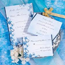 Vintage Blue Damask Beach Wedding Invitation Cards Online EWI039 Free