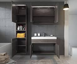 badezimmer badmöbel set paso led 80 cm waschbecken bodega grau unterschrank hochschrank waschbecken spiegelschrank