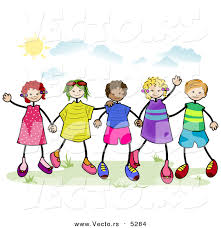 600x620 Vector Of A Group Stick Children Holding Hands Outside By BNP