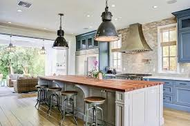 Blue Kitchen Cabinets With Gray Island