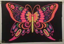 Butterfly Vintage Blacklight Poster Psychedelic Pin Up 1970s Black Light 70s