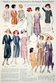 1921 Color Print 1920s Flapper Fashion Illustrations Summer Dresses Women Hats