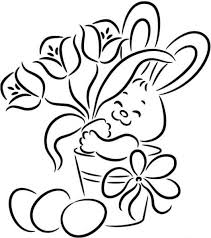 Easter Bunny With Flower And Egg Easy Coloring Pages