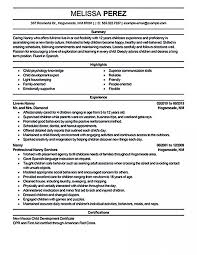 Resume For Nanny Sample Job Best Cv Samples Housekeeper Templates Incredible Nannies Objective Examples 728